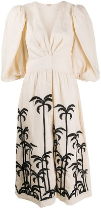 Johanna Ortiz Palm Tree Puff-Sleeve Midi Dress