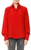 Isabel Marant Salina Silk Bishop-Sleeve Shirt