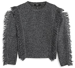 Aqua Girls' Cashmere Cropped Fringe Sweater, Big Kid - 100% Exclusive