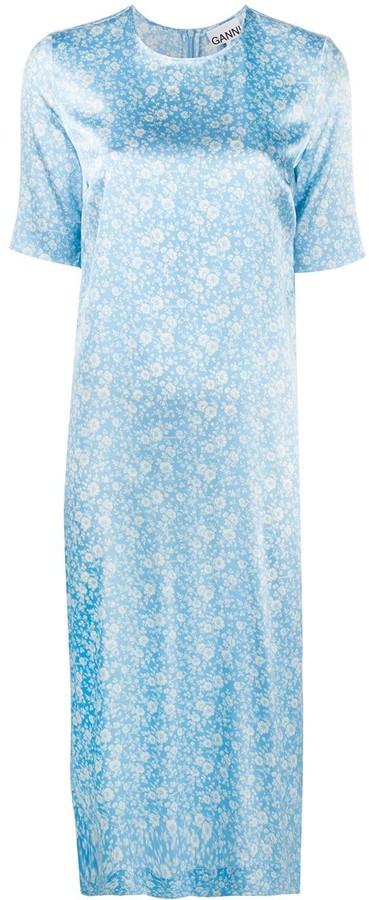 Ganni Floral-Print Shift Dress