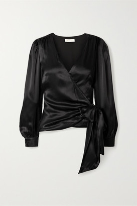 MICHAEL Michael Kors Sateen Wrap Top - Black
