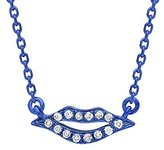 As 29 AS29 Women's 18ct Blue Gold Round White Diamonds Mini Lips Necklace of Length 38-40cm