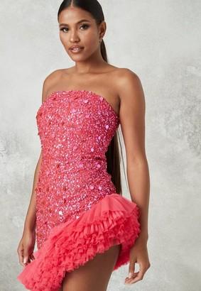 Missguided Pink Embellished Bandeau Tulle Mini Dress