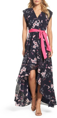 Brinker & Eliza High/Low Floral Faux Wrap Maxi Dress