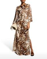 Thumbnail for your product : Rickie Freeman For Teri Jon Animal-Print Charmeuse Shirt Gown