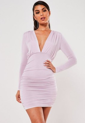 Missguided Lilac Slinky Ruched V Neck Mini Dress