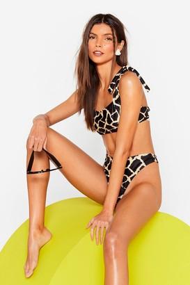 Nasty Gal Womens Giraffe Tie High-Leg Bikini Set - Stone