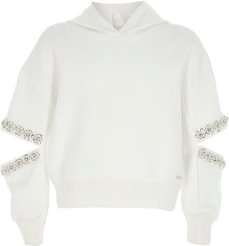 River Island Girls White split embellished sleeve hoodie
