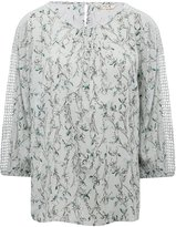 M&Co Floral print crochet panel blouse