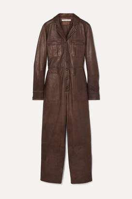 Veronica Beard Artemis Leather Jumpsuit - Brown