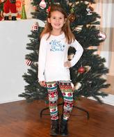 Beary Basics White 'Let It Snow' Top & Red Stripe Leggings - Toddler & Girls