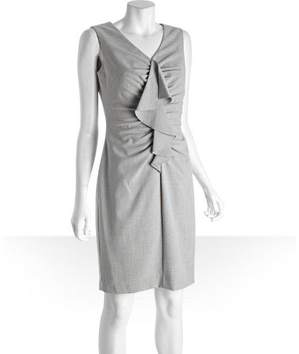Calvin Klein grey sleeveless ruffle front v-neck dress