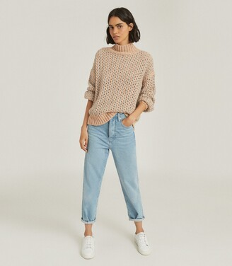 Reiss Hazel - Open-knit Oversized Jumper in Grey/Neutral