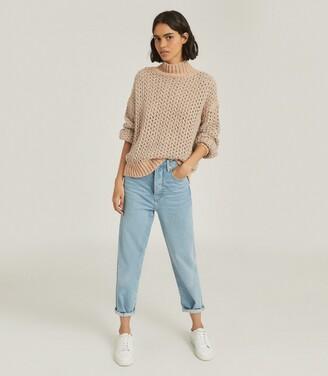 Reiss Hazel - Open-knit Oversized Jumper in Grey/neutral