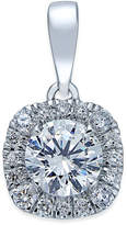 Certified X3 Diamond Halo Pendant Necklace (1 ct. t.w.) in 18k White Gold, Created for Macy's