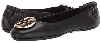 Tory Burch Minnie Travel Ballet w/ Metal Logo (Perfect Black/Gold) Women's Shoes