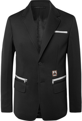 Prada Black Slim-Fit Logo-Appliqued Stretch-Jersey Blazer