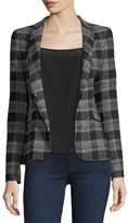 Alice + Olivia Harris Told You So Embroidered Plaid Wool Blazer