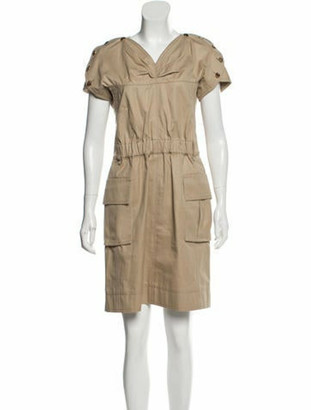 Louis Vuitton V-Neck Knee-Length Dress Tan