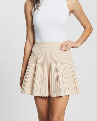 Atmos & Here Atmos&Here - Women's Neutrals Pleated skirts - Lillia Knit Mini Skirt - Size M at The Iconic