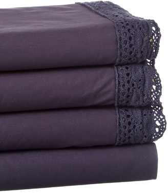 Boho Bed Wide Crochet Sheet Set Indigo