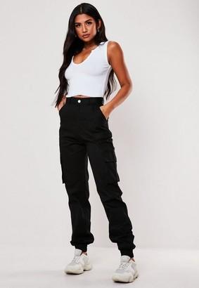 Missguided Tall Black Plain Cargo Pants