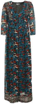 Suncoo Long Blue Viscose Printed Dress - S - Blue/Red/Grey