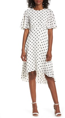 Brinker & Eliza Dot High/Low Fit & Flare Dress