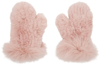 Yves Salomon Pink Rex Rabbit and Fox Fur Mittens