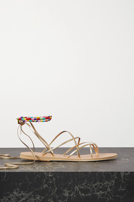 Ancient Greek Sandals Ermioni Pearl And Bead-embellished Metallic Leather Sandals