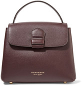 Burberry Small Checked Twill-paneled Textured-leather Tote - Burgundy
