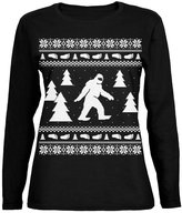 Old Glory Sasquatch Ugly Christmas Sweater Womens Long Sleeve T-Shirt - 2X-Large