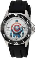 Marvel Men's 'Captain America' Quartz Stainless Steel and Rubber Casual Watch, Color: (Model: WMA000016)