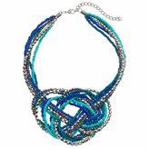 Blue Seed Bead Pretzel Knot Statement Necklace