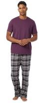 Maine New England Big And Tall Purple Checked Loungewear Set