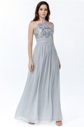 Goddiva Lace Halter Neck Chiffon Skirt Dress - Grey