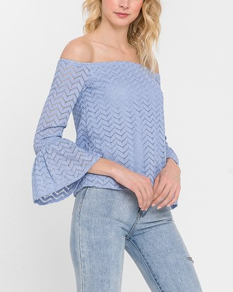 Express English Factory Off The Shoulder Bell Sleeve Top