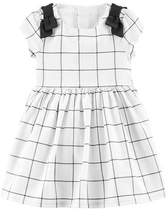 Carter's Girls Short Sleeve Cap Sleeve Checked A-Line Dress - Baby