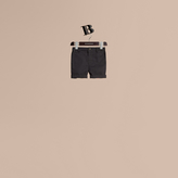 Burberry Check Detail Cotton Chino Shorts