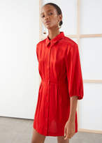 And other stories Balloon Sleeve Mini Shirt Dress