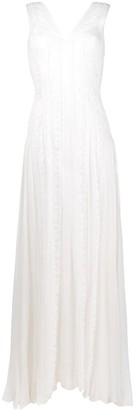 Alberta Ferretti Lace Panel Floor-Length Gown