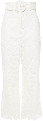 Zimmermann Super Eight Belted Guipure Lace Kick-flare Pants