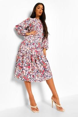 boohoo Mixed Floral Drop Hem Midi Smock Dress