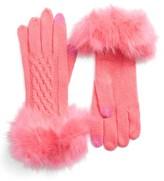 Women's Cc Faux Fur Trim Knit Tech Gloves