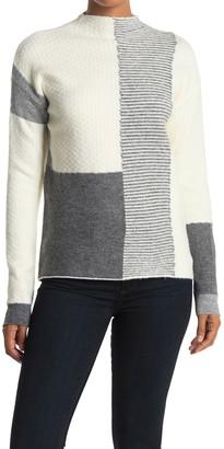 Cyrus Patchwork Print Mock Neck Sweater