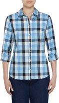 Allison Daley Petites Long Roll-Tab Sleeve Buffalo Plaid Button Front Shirt