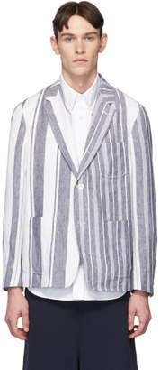 Thom Browne Navy and White Unconstructed Patch Pocket Blazer