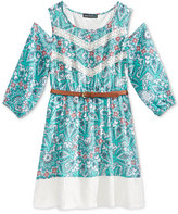 Sequin Hearts Cold-Shoulder Lace-Trim Dress, Big Girls (7-16)