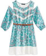 Sequin Hearts Cold-Shoulder Lace-Trim Dress, Big Girls (7-16)
