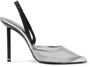 Alexander Wang Metallic Leather And Satin-trimmed Mesh Slingback Pumps